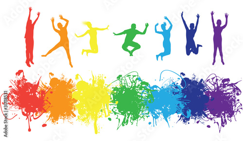 jumping rainbow people - 30118531