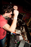 Dj playing disco house progressive electro music poster