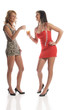 Zwei sexy Party-Girls trinken Sekt