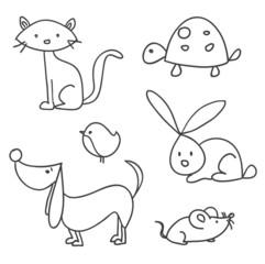 Hand drawn cartoon pets, vector illustration