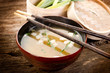 soup with tofu and seaweed-zuppa tofu e alghe