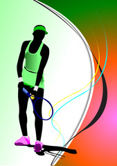 Poster of Woman Tennis player. Colored Vector illustration for d