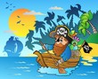 Pirate paddling in boat near island