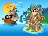 Fototapety Pirate monkey and chest on island