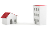 paper models of village and city dwelling houses with red roofs, poster