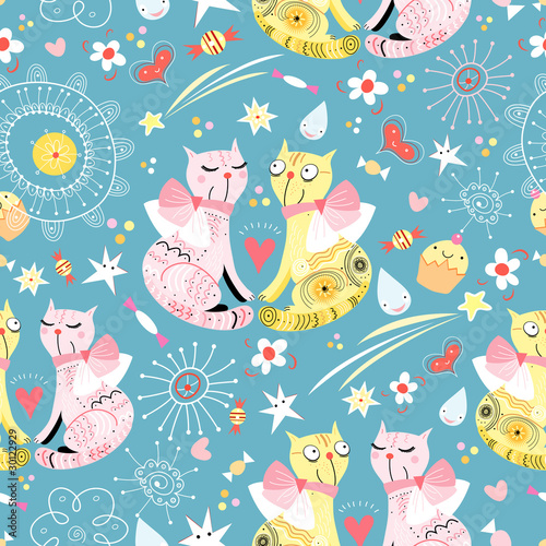 Tuinposter Katten seamless pattern with lovers cats