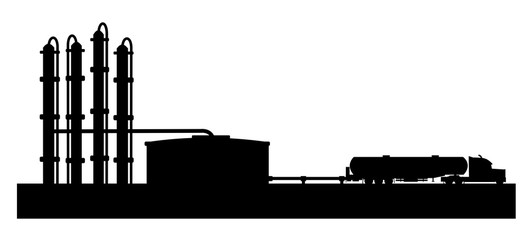 Petroleum refinery with tank truck vector