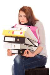 girl holding ring binders