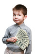 boy with the money on a white background