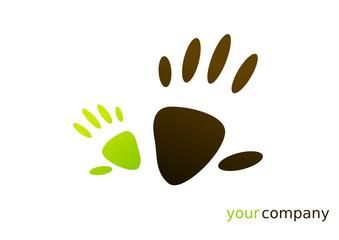 Logo mains vert marron