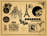 Vintage Etchings and Design Elements poster