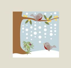 Uccellini Ellebori e neve