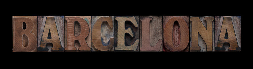 the word Barcelona in old letterpress wood type