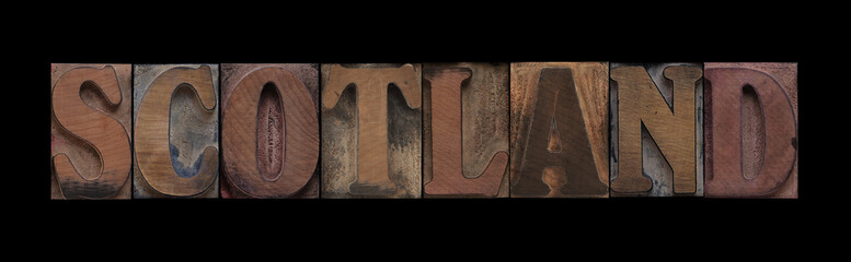 Scotland in old wood type