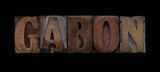 the word Gabon in old letterpress wood type