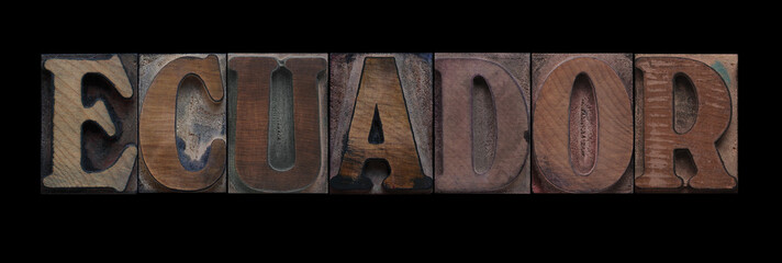 Ecuador in old wood type