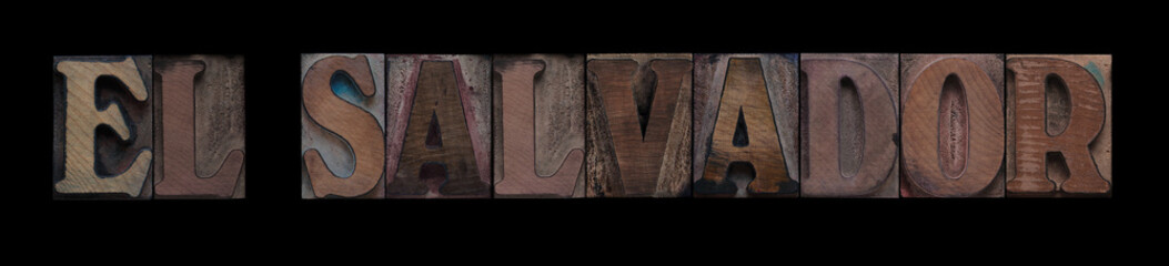 El Salvador in old wood type