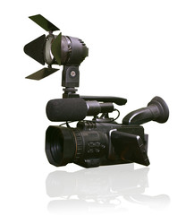 digital video camera with a searchlight