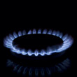 Full focus of Gas burner isolated on black background
