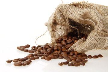 burlap sack of roasted beans