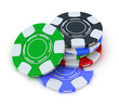 Poker gambling chips in pile top view isolated on white
