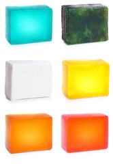 Handmade fruit soap set #1. Backlit | Isolated