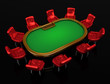 Poker table with chairs top isometric view isolated on black