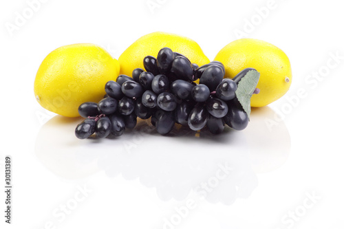 Group of fruits isolated on the white background