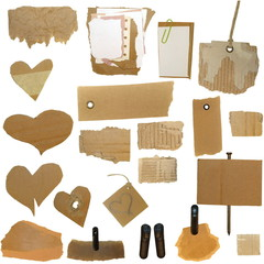 Set Cardboard Scraps, blank tag, paper notes, isolated