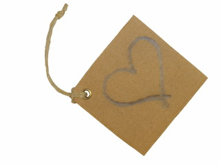 heart tag tied isolated on white background