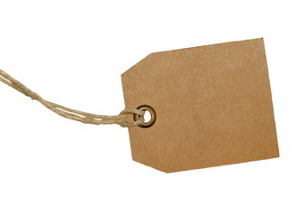 Blank tag tied isolated on white background