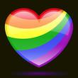 glossy rainbow colour heart