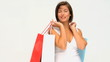 Attractive woman holding her shopping bags