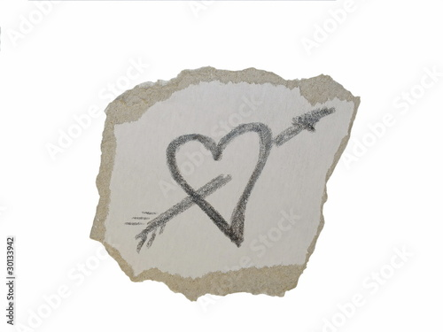cardboard scrap and heart isolated on white