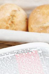 Bible with text in Jon 6:35 - Jesus being the bread of life