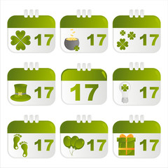 set of 9 st. patrick's day calendar icons