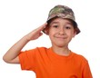boy in camouflage hat saluting, isolated