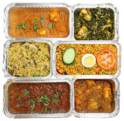 Selection of Indian Takeaway Curry Food