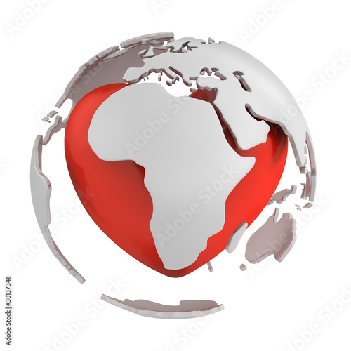 Globe with heart, Africa part