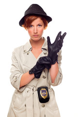 Red Haired Female Detective Putting on Gloves Wearing a Trenchco