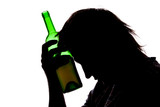 Silhouette of sad man drinking alcohol poster
