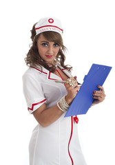 Sexy nurse with clipboard isolated