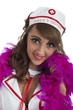 Sexy nurse with pink feather boa