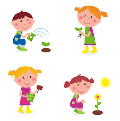 Gardening children collection isolated on white. VECTOR