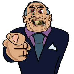 Snarling angry businessman