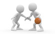 Two basketball players confronted in a one on one
