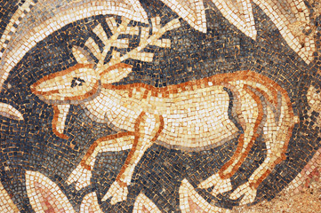 close up of fragment of antique mosaic