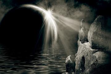 mystic night landscape
