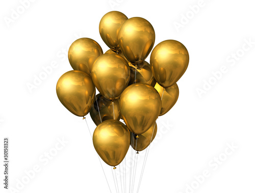 gold balloons isolated on white - 30150323