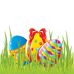 Easter painted eggs in grass